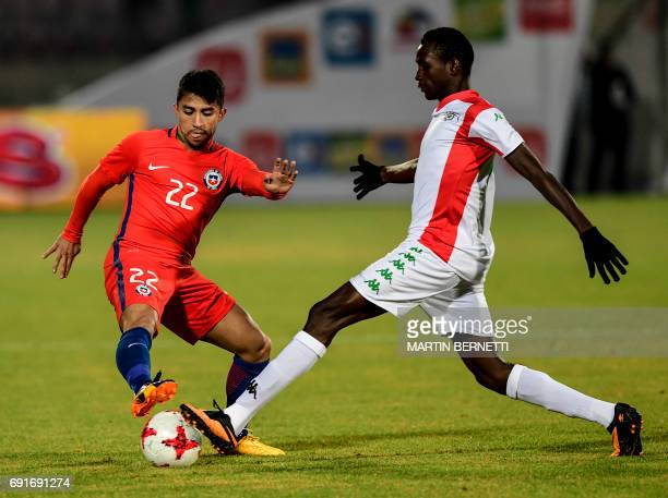 Chile's Edson Puch vies for the ball with Burkina Faso´s Rasiron Compaore during a friendly match for the FIFA Confederations Cup Russia 2017 in...