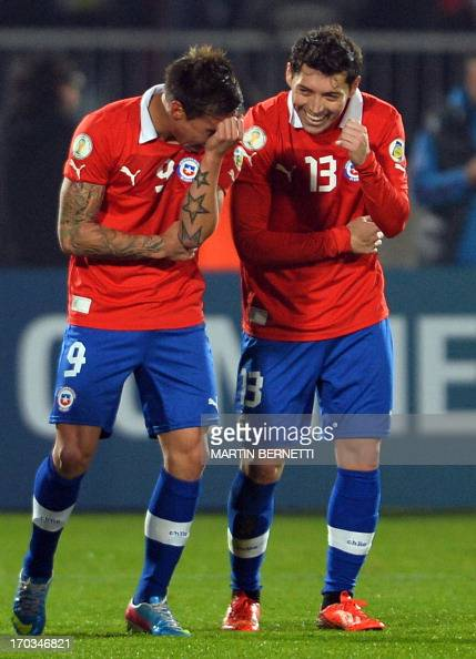 Chile 39 s eduardo vargas l celebrates his goal with - Jose santiago vargas ...