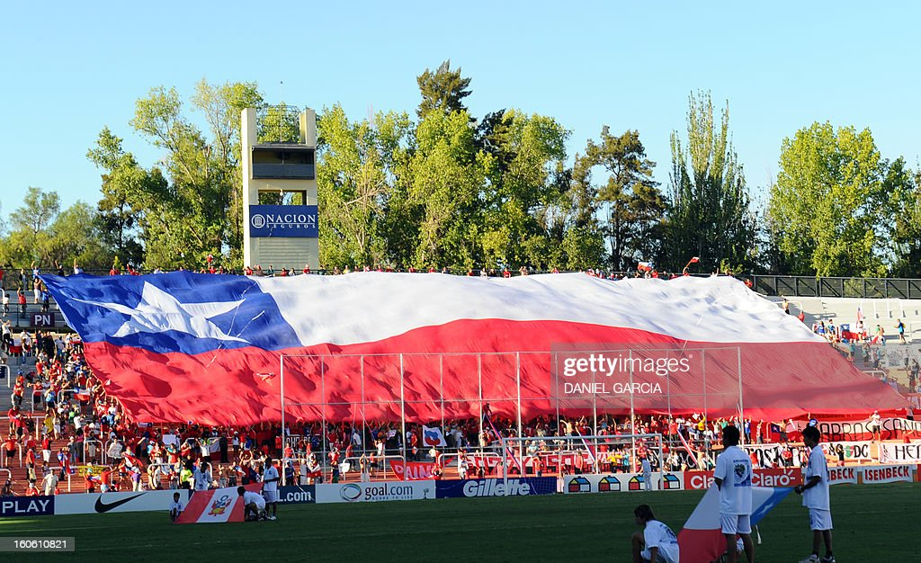Chile's fans display a national flag before the South American U-20 final round football match against Peru at Malvinas Argentinas stadium in Mendoza, Argentina, on February 3, 2013. Four teams will qualify for the FIFA U-20 World Cup Turkey 2013. AFP PHOTO / DANIEL GARCIA