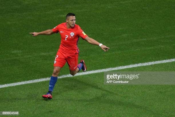 Chile's forward Alexis Sanchez celebrates after scoring a goal during the 2017 Confederations Cup group B football match between Germany and Chile at...