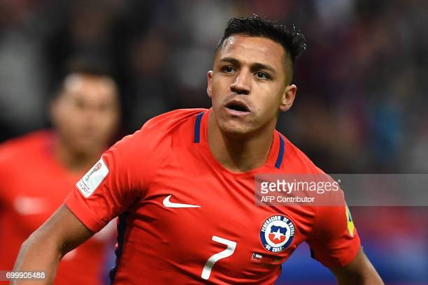 Chile's forward Alexis Sanchez reacts after scoring a goal during the 2017 Confederations Cup group B football match between Germany and Chile at the...