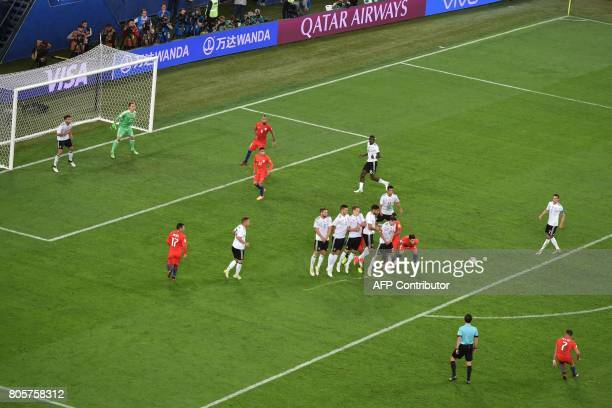 Chile's forward Alexis Sanchez shoots a free kicks and fails to score during the 2017 Confederations Cup final football match between Chile and...