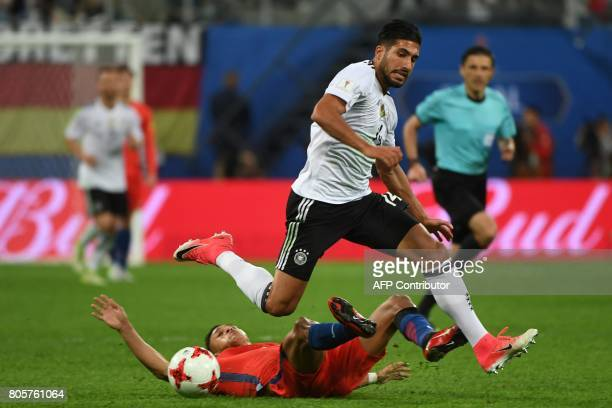 Chile's forward Alexis Sanchez vies with Germany's midfielder Emre Can during the 2017 Confederations Cup final football match between Chile and...