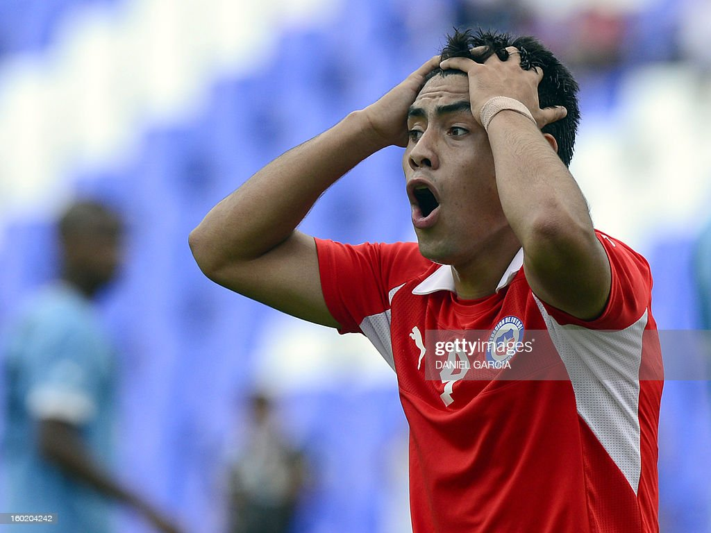 Chile's forward Andres Mora reacts after his goal was disallowed by referee during the South American U-20 final round football match against Uruguay at Malvinas Argentinas stadium in Mendoza, Argentina, on January 27, 2013. Four teams will qualify for the FIFA U-20 World Cup Turkey 2013. Uruguay won 1-0.