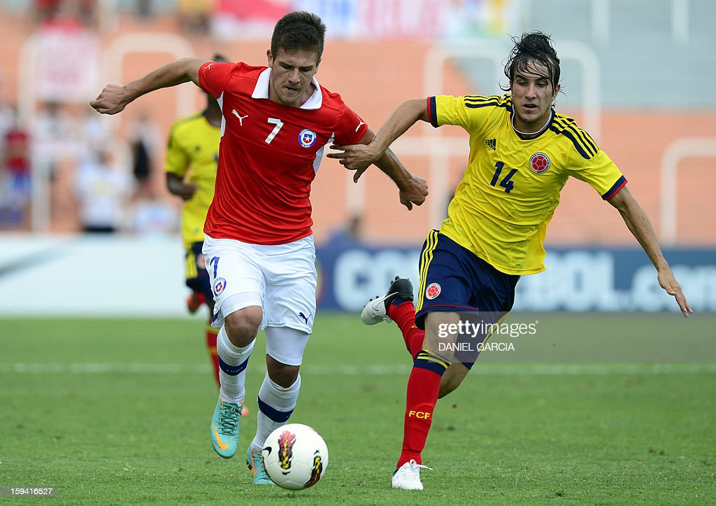 Chile's forward Diego Rubio (L) vies for the ball with Colombia's midfielder Sebastian Perez during their Group A South American U-20 qualifier football match at Malvinas Argentinas stadium in Mendoza, Argentina, on January 13, 2013. Four teams will qualify for the FIFA U-20 World Cup Turkey 2013.