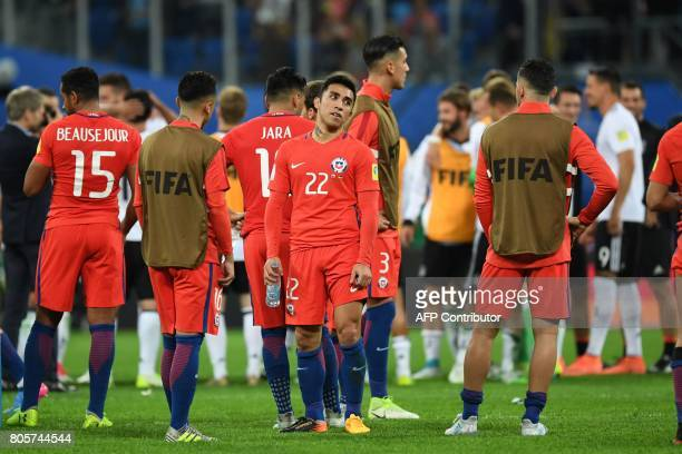 Chile's forward Edson Puch reacts after loosing the 2017 Confederations Cup final football match between Chile and Germany at the Saint Petersburg...