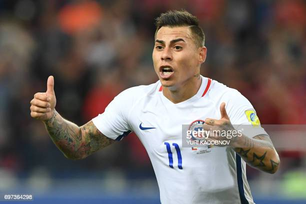 Chile's forward Eduardo Vargas celebrates after scoring a goal during the 2017 Confederations Cup group B football match between Cameroon and Chile...