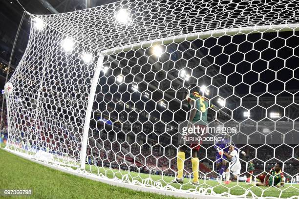 Chile's forward Eduardo Vargas scores a goal during the 2017 Confederations Cup group B football match between Cameroon and Chile at the Spartak...