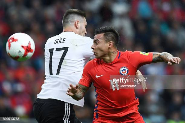 TOPSHOT Chile's forward Eduardo Vargas vies with Germany's defender Niklas Suele during the 2017 Confederations Cup group B football match between...