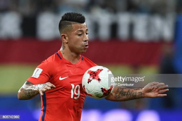 Chile's forward Leonardo Valencia controls the ball during the 2017 Confederations Cup final football match between Chile and Germany at the Saint...