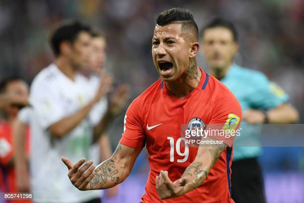 Chile's forward Leonardo Valencia reacts during the 2017 Confederations Cup final football match between Chile and Germany at the Saint Petersburg...