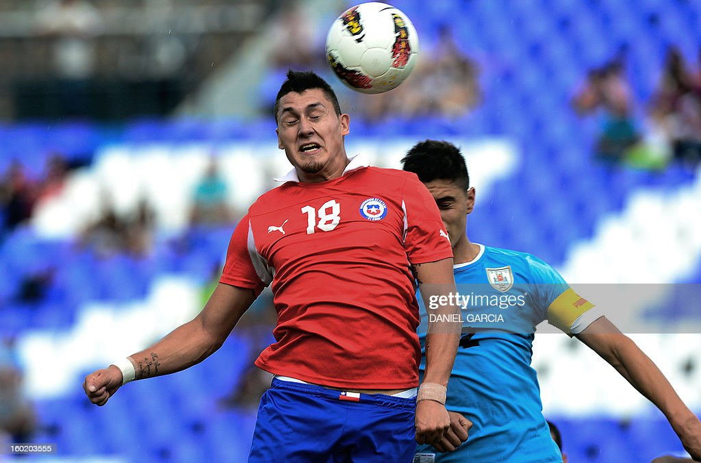 Chile's forward Nicolas Castillo vies for the ball with Uruguay's defender Fabricio Formiliano during their South American U-20 final round football match at Malvinas Argentinas stadium in Mendoza, Argentina, on January 27, 2013. Four South American teams will qualify for the FIFA U-20 World Cup Turkey 2013.