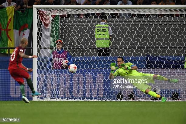 CORRECTION Chile's goalkeeper Claudio Bravo stops a shoot by Portugal's forward Ricardo Quaresma during the penalty shoot out 2017 Confederations Cup...