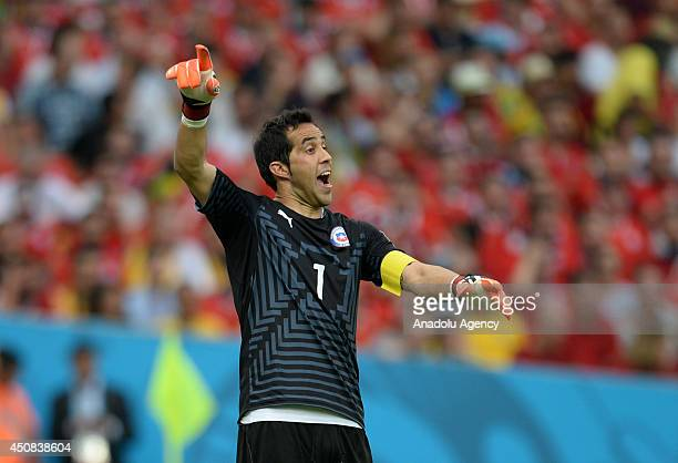 Chile's goalkeeper Cloudio Brova reacts during the 2014 FIFA World Cup Group B soccer match between Spain and Chile at the Maracana Stadium in Rio de...