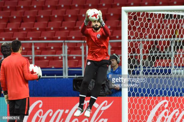 Chile's goalkeeper Johnny Herrera attends a training session during the Russia 2017 Confederations Cup football tournament at Moscow's Spartak...