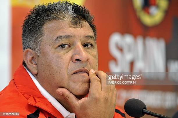 Chile's head coach Claudio Borghi gives a press conference at AFG Arena in St Gallen Switzerland on September 1 2011 on the eve of a friendly...