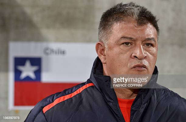 Chile's head coach Claudio Borghi looks on prior to friendly football match between Chile and Serbia on November 14 2012 at the AFG Arena in St...