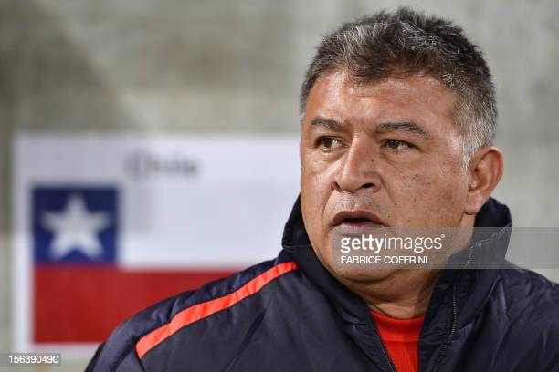 Chile's head coach Claudio Borghi looks on prior to the friendly football match between Chile and Serbia on November 14 2012 at the AFG Arena in St...