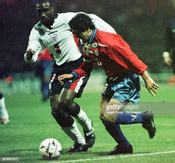 Chile's Marcelo Salas is tackled by England's Sol Campbell just before the incident which led to his penalty against England in their friendly at...