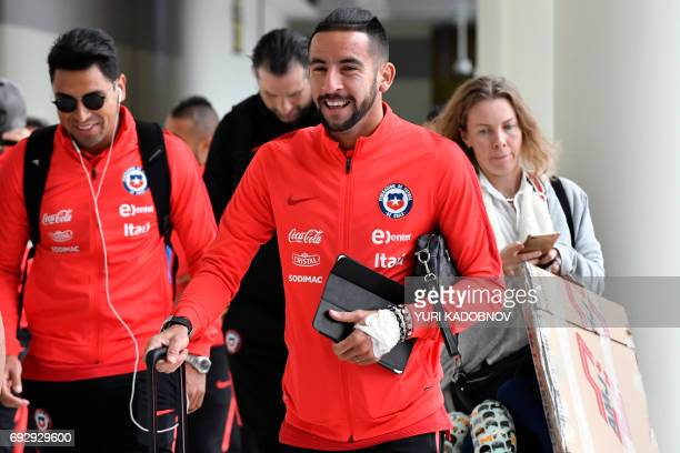 Chile's Mauricio Isla arrives at Sheremetyevo International Airport in Moscow on June 6 to take part in the 2017 FIFA Confederations Cup football...