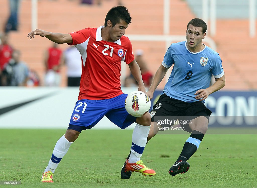 Chile's midfielder Andres Caroca vies for the ball with Uruguay's midfielder Sebastian Cristoforo during their South American U-20 final round football match at Malvinas Argentinas stadium in Mendoza, Argentina, on January 27, 2013. Four South American teams will qualify for the FIFA U-20 World Cup Turkey 2013.