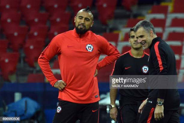 Chile's midfielder Arturo Vidal attends a training session during the Russia 2017 Confederations Cup football tournament at Moscow's Spartak Stadium...