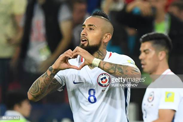 Chile's midfielder Arturo Vidal celebrates after scoring a goal during the 2017 Confederations Cup group B football match between Cameroon and Chile...