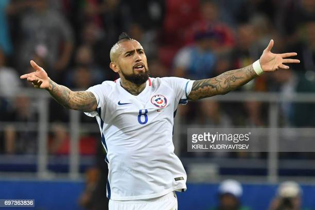 Chile's midfielder Arturo Vidal celebrates his team's second goal during the 2017 Confederations Cup group B football match between Cameroon and...