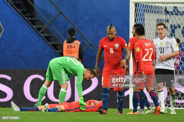 Chile's midfielder Arturo Vidal reacts after Chile lost 10 to Germany in the finals of the 2017 Confederations Cup final football match at the Saint...