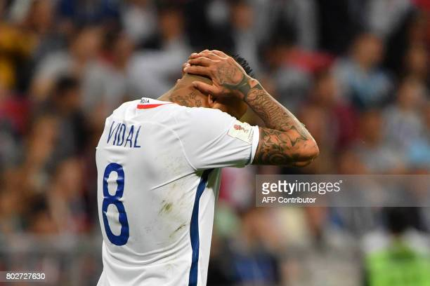 Chile's midfielder Arturo Vidal reacts during the 2017 Confederations Cup semifinal football match between Portugal and Chile at the Kazan Arena in...
