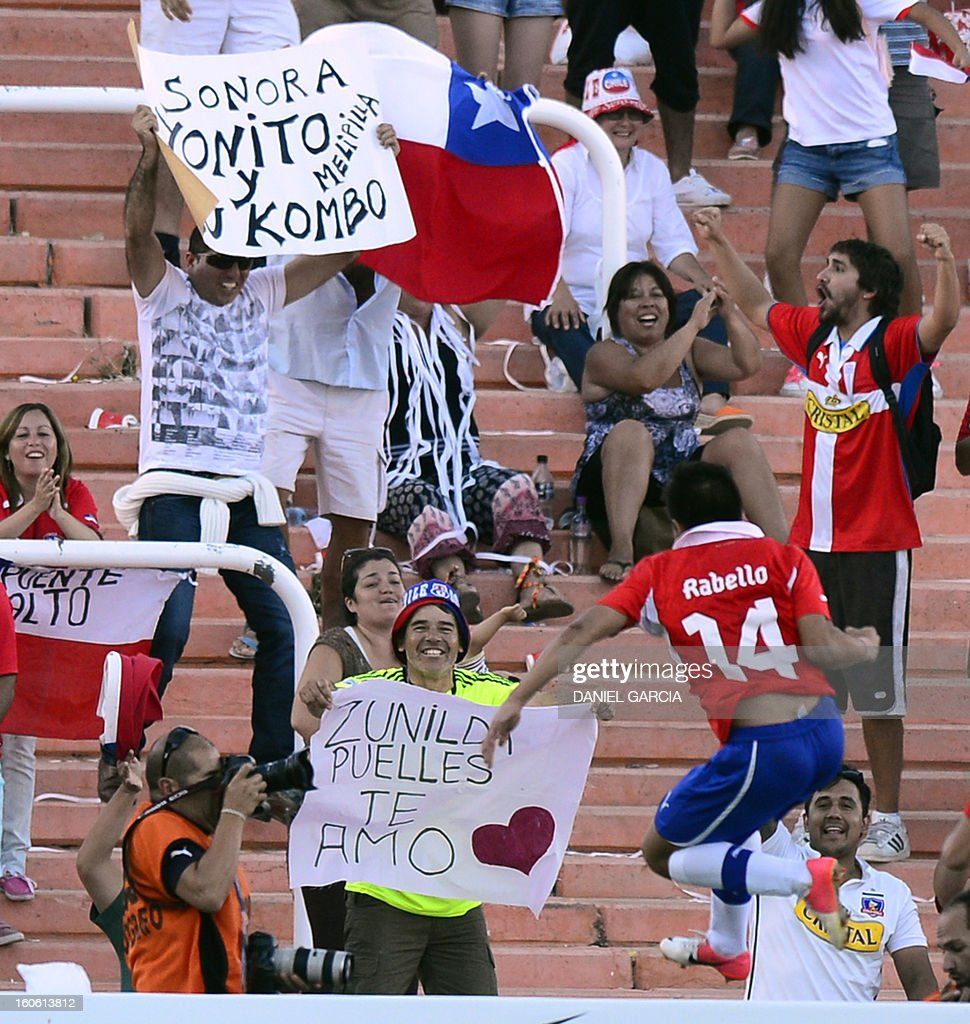 Chile's midfielder Bryan Rabello celebrates with fans after scoring against Peru during their South American U-20 final round football match at Malvinas Argentinas stadium in Mendoza, Argentina, on February 3, 2013. Four South American teams will qualify for the FIFA U-20 World Cup Turkey 2013.
