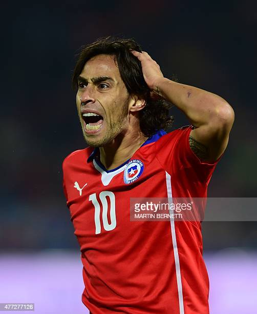 Chile's midfielder Jorge Valdivia shouts during the 2015 Copa America football championship match against Mexico in Santiago on June 15 2015 AFP...