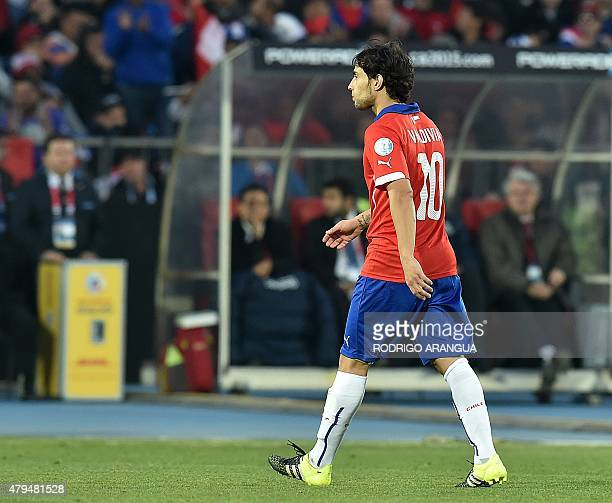Chile's midfielder Jorge Valdivia walks off the pitch after being substituted during their 2015 Copa America football championship final against...