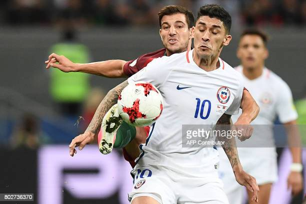 Chile's midfielder Pablo Hernandez plays the ball during the 2017 Confederations Cup semifinal football match between Portugal and Chile at the Kazan...