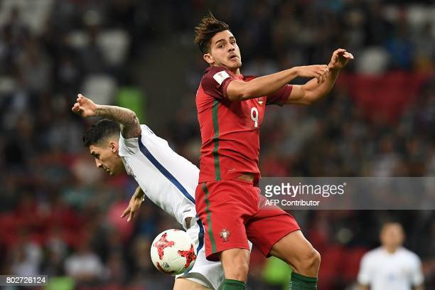 Chile's midfielder Pablo Hernandez vies for the ball against Portugal's forward Andre Silva during the 2017 Confederations Cup semifinal football...