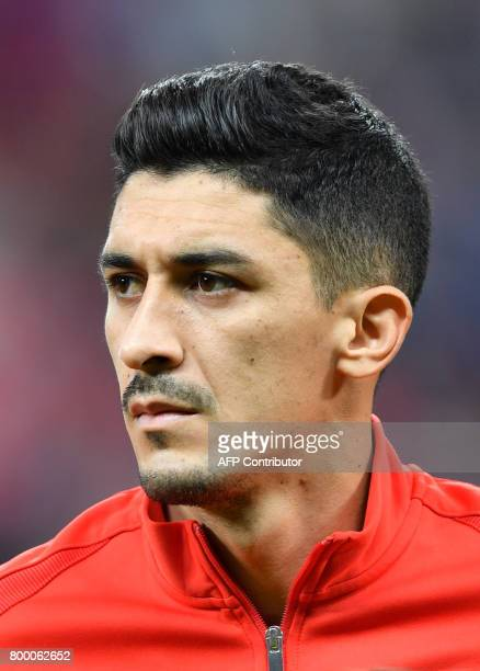 Chile's midfielder Pedro Pablo Hernandez listens to the national anthems during the 2017 FIFA Confederations Cup football match between Germany and...