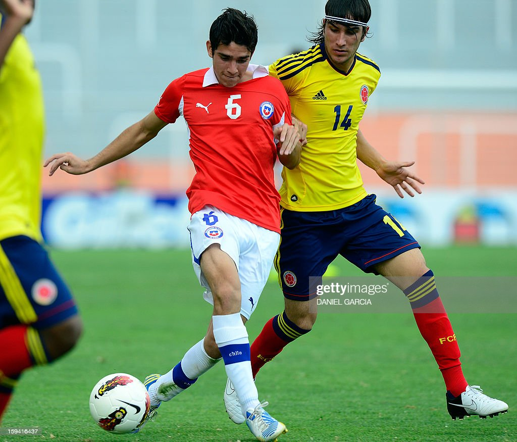 Chile's midfielder Sebastian Martinez vies for the ball with Colombia's midfielder Sebastian Perez during their Group A South American U-20 tournament football match at Malvinas Argentinas stadium in Mendoza, Argentina, on January 13, 2013. Four South American teams will qualify for the FIFA U-20 World Cup Turkey 2013. AFP PHOTO / DANIEL GARCIA