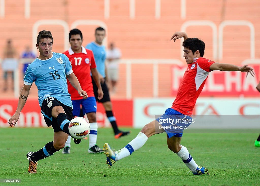 Chile's midfielder Sebastian Martinez (R) vies for the ball with Uruguay's midfielder Matias Abisab (L) during their South American U-20 final round football match at Malvinas Argentinas stadium in Mendoza, Argentina, on January 27, 2013. Four South American teams will qualify for the FIFA U-20 World Cup Turkey 2013.