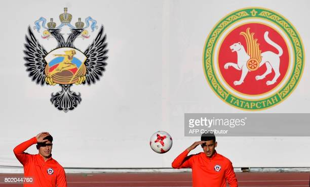 Chile's midfielders Charles Aranguiz and Pablo Hernandez attend to a training session at the Central stadium in Kazan on June 27 2017 on the eve of...