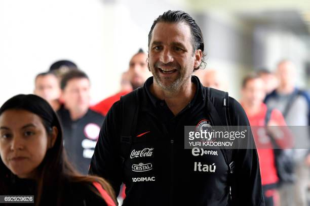 Chile's national football team coach Juan Antonio Pizzi arrives at Sheremetyevo International Airport in Moscow on June 6 to take part in the 2017...