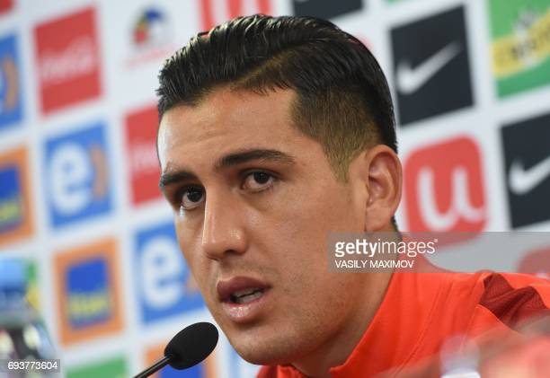 Chile's national football team defender Enzo Roco speaks during a press conference on the eve of the friendly footbal match against Russian national...