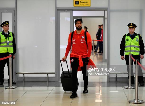 Chile's national football team goalkeeper Claudio Bravo arrives at Sheremetyevo International Airport in Moscow on June 6 to take part in the 2017...