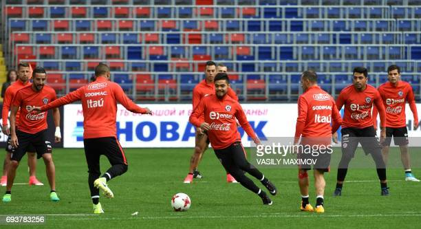 Chile's national football team players take part in a training session in Moscow on June 8 2017 on the eve of a friendly football match against...
