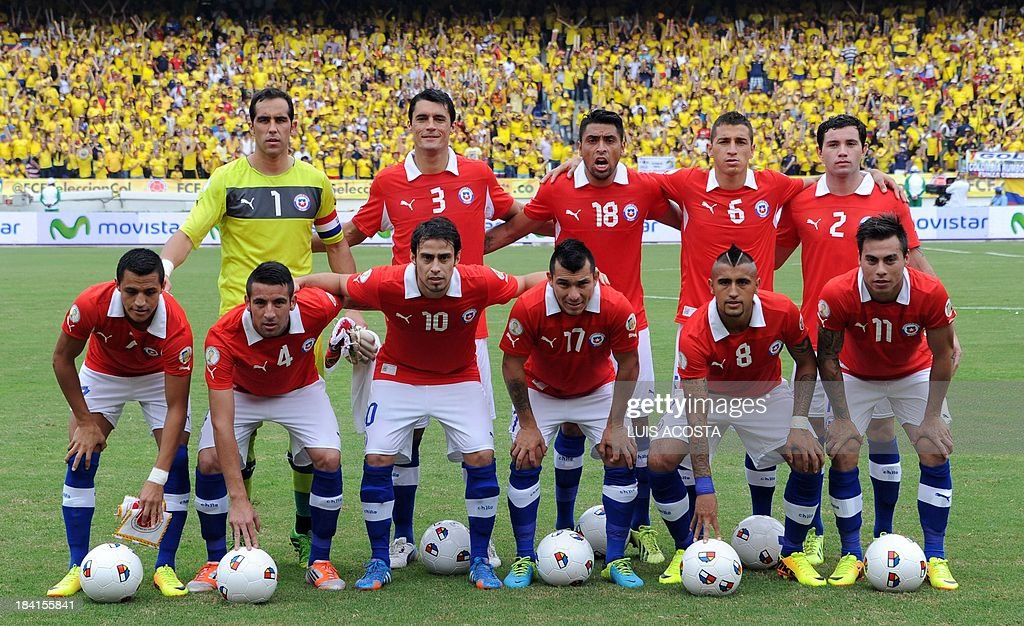 Chile's national football team poses for pictures before the start of the Brazil 2014 FIFA World Cup South American qualifier match against Colombia, in Barranquilla, Colombia, on October 11, 2013. (Standing, L-R) Goalkeeper Claudio Bravo, defender Marcos Gonzalez, defender Gonzalo Jara, midfielder Carlos Carmona and defender Eugenio Mena. (Front row L-R) Forward Alexis Sanchez, defender Mauricio Isla, midfielder Jorge Valdivia, defender Gary Medel, midfielder Arturo Vidal and forward Eduardo Vargas.
