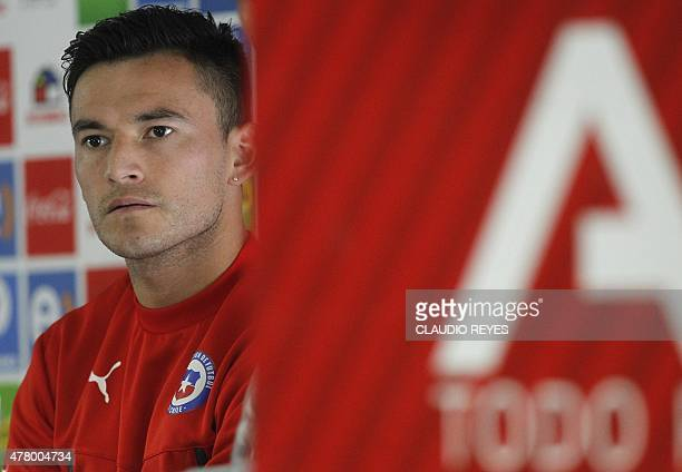 Chile's national football teamplayer Charles Aranguiz gives a press conference during the Copa America 2015 in Santiago on June 21 2015 AFP...