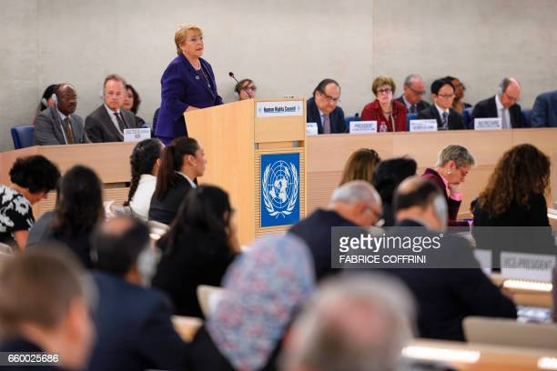 Chile's President Michelle Bachelet addresses a special session of the United Nations UN human rights council on March 29 2017 at the UN Offices in...