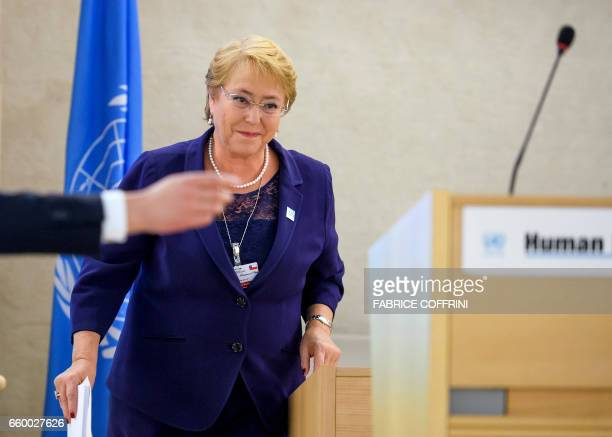 Chile's President Michelle Bachelet arrives to address a special session of the UN human rights council on March 29 2017 at the UN Offices in Geneva...