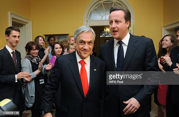 Chile's President Sebastian Pinera is greeted by PM David Cameron at 10 Downing Street on October 18 2010 in London Pinera is presenting Britain's...