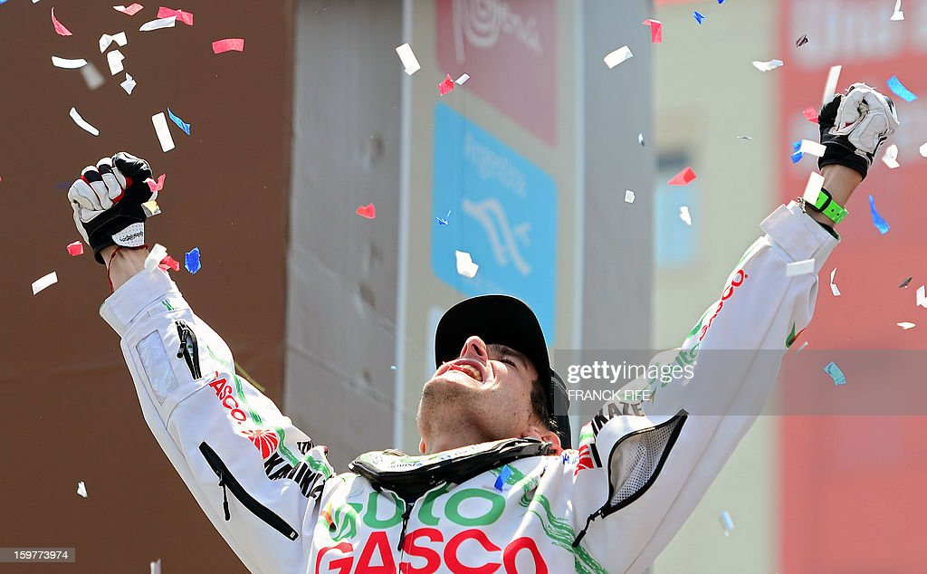 Chile's quad driver Ignacio Casale celebrates on the podium of the Dakar 2013 after arriving second in Santiago, Chile on January 20, 2013.