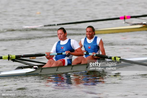 Chile's Soraya Jadue Arriaza and Maria Orellana Gomez compete in the Women's Pairs Repechage 2 during Event 3 of The Rowing World Cup in Bosbaan...